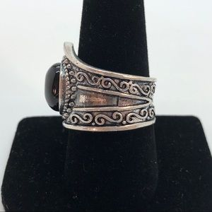 Jewelry - Silver and Onyx Cabochon Antiqued Ring 8